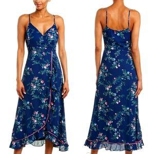 IF BY SEA LA Floral Wrap Midi Summer Dress Sz Med